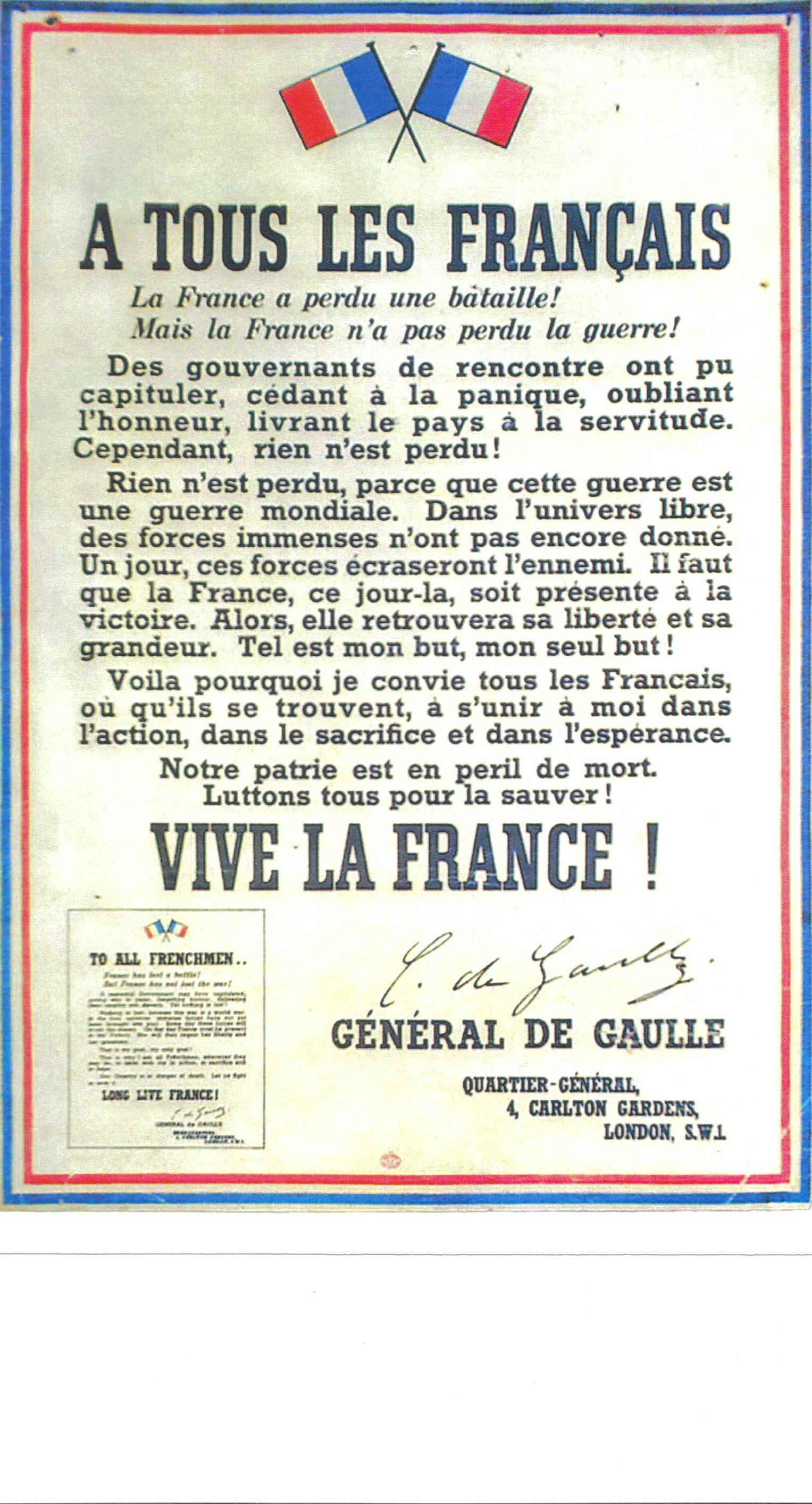 Appel du 18 juin 1940 - Général de Gaulle dans ...TEMOIGNAGES... appel18juin40