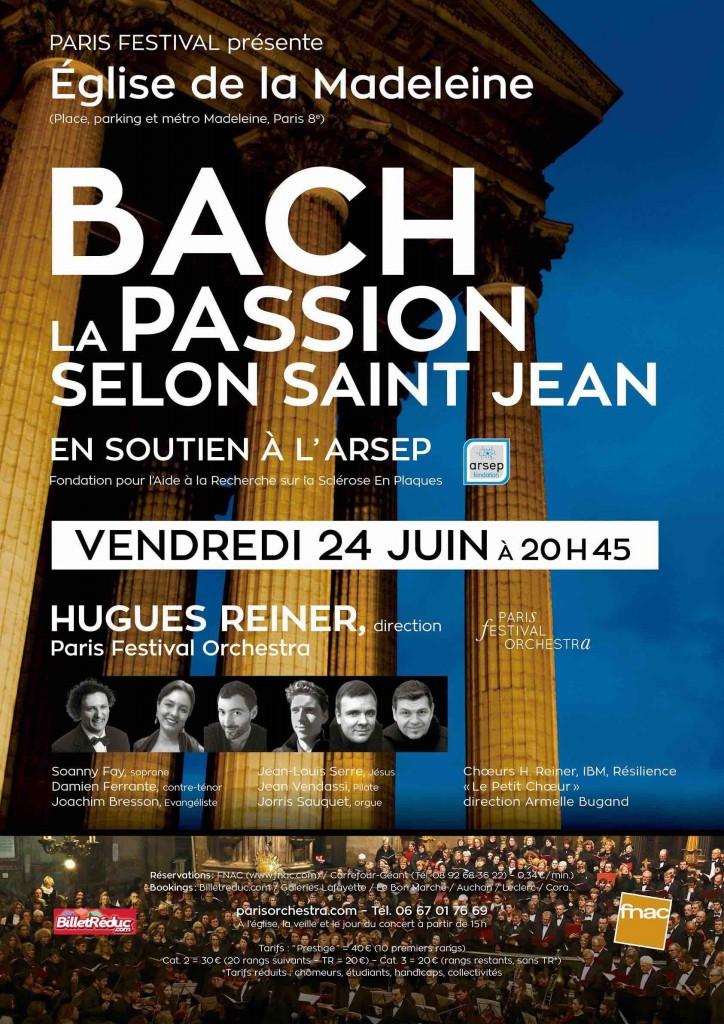 affiche concert Hugues REINER BACH La Madeleine Paris 2016 ARSEP 2
